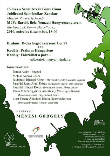 15 éves a Szent István Gimnázium Jubileumi Szimfonikus Zenekar