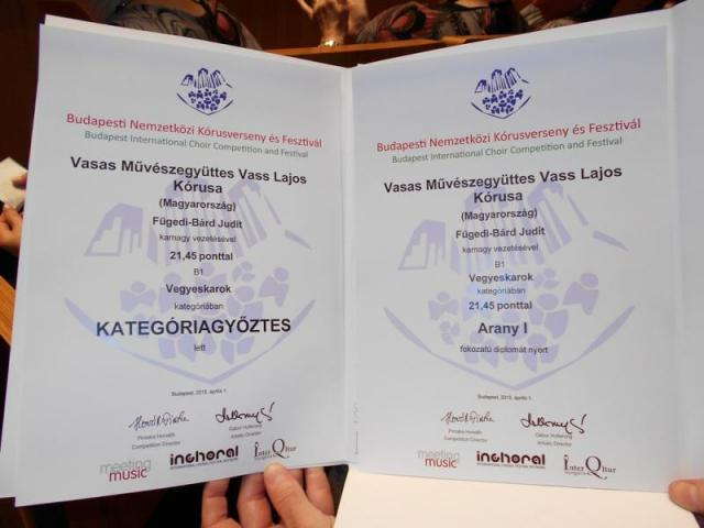 Budapesti Nemzetközi Kórusverseny első díj